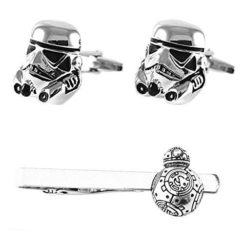 Outlander Storm Trooper Silver Cufflink & BB-8 3D Tiebar - New 2018 Star Wars Movies - Set of 2 Wedding Logo w/Gift Box by Outlander