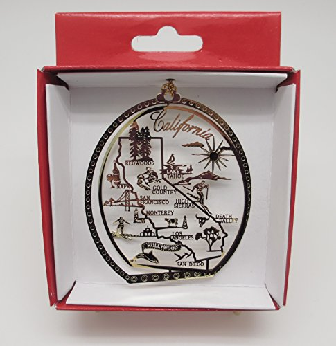 California State Brass Christmas ORNAMENT San Francisco LA Hollywood San Diego Famous - California Ornaments