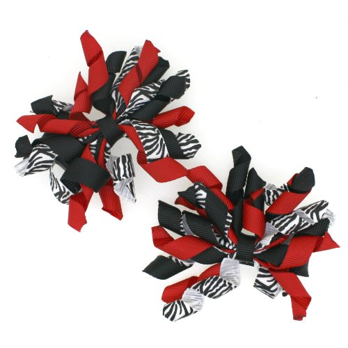Mini Korker Hair Bow Clips Set of 2 (Zebra/red/black) - Girls Curly Hairbows