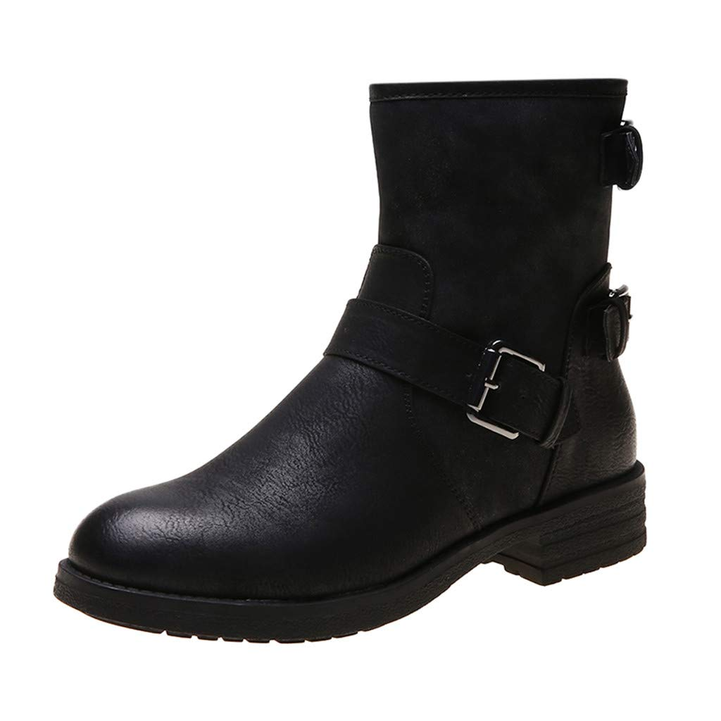BBTshop Women Short Boots Ankle Snow Booties Knee Winter Buckle-Strap Shoes Boots Round Toe Low-Heele Stylish Ankle Flat Boots Ladies Girls Sexy Heel Shoes Over The Knee Thigh High Bootie by BBTshop