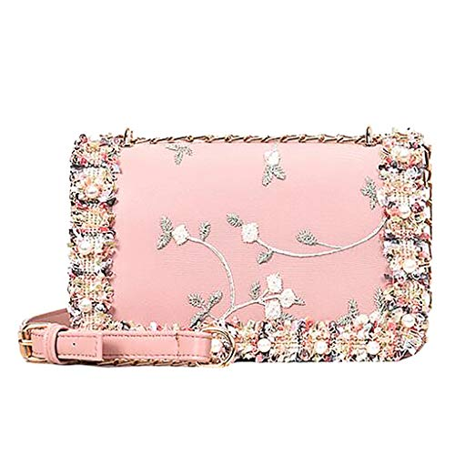 Birdfly Women Lace Flowers Leather Square Bag Flower Pearl Chain Shoulder Messenger Bag (Pink)