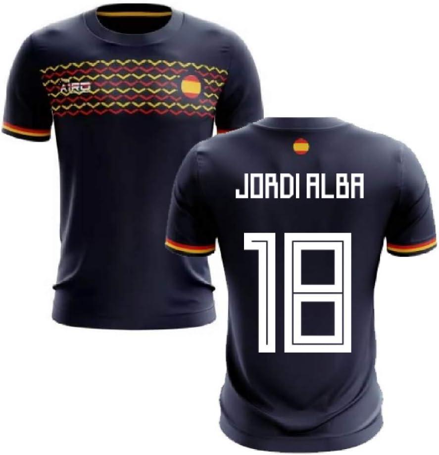 Airosportswear 2019-2020 - Camiseta de fútbol de España (Jordi Alba 18), Hombre, Azul Marino, S/Contorno del Pecho: 88/96 cm: Amazon.es: Deportes y aire libre