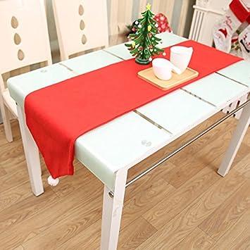 CALISTOUK Mantel de Navidad Decoraciones de Mesa Rojo Navidad Bandera de Mesa Toalla Gamuza Cubre: Amazon.es: Hogar