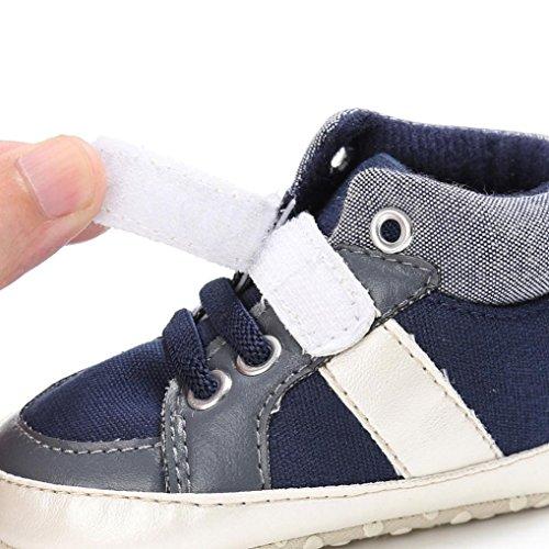 Babyschuhe Longra Baby jungen Mädchen Neugeborenes Krabbelschuhe weiche Sohle Leinwand Schuhe Sneakers(0-18 Monate) Navy