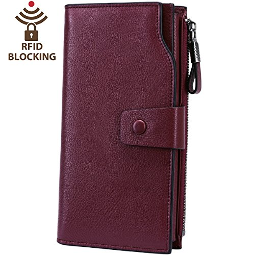 Itslife Women's RFID Blocking Large Capacity Luxury Wax Genuine Leather Cluth Wallet Card Holder Ladies Purse (Natural Wine Red RFID BLOCKING)