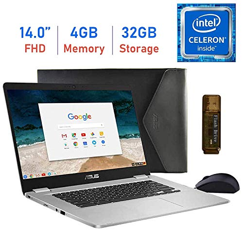 "Latest_ASUS Chromebook 14"" FHD Laptop with Mouse and Sleeve, Intel Celeron N3350 Processor, 4GB RAM, 32GB eMMC + 32GB External Flash Drive, 180° Hinge, USB 3.1 Type-C, Media Card Reader, Chrome OS"
