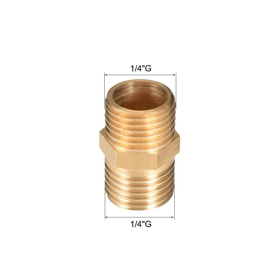 sourcing map Racor de lat/ón boquilla hexagonal 1//4x 1//4 g rosca macho tubo lat/ón 4pcs