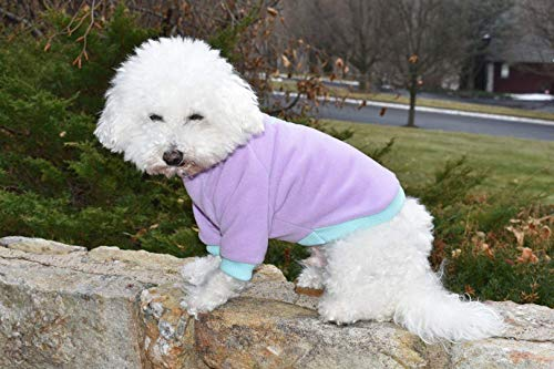 Embroidered Snowflake Purple Long Sleeve Dog Fleece Pullover T Shirt - Snowflakes Sweater Embroidered