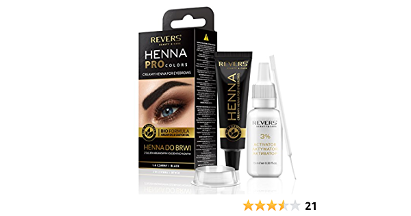 Henna ProColors Henna para cejas con cremosa fórmula bio con aceite de argán y aceite de ricino (1.0 negro)