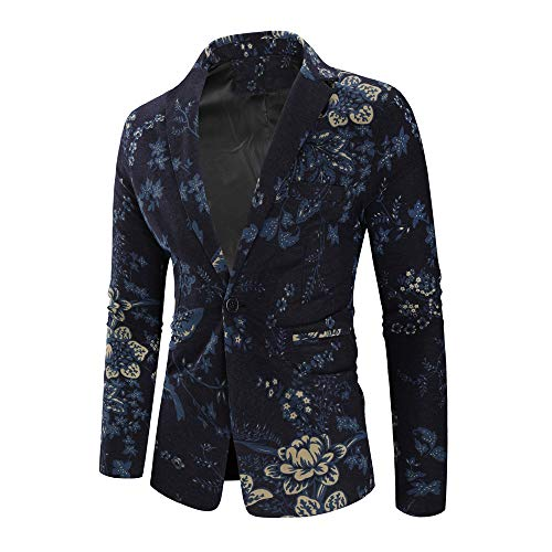 (DIOMOR Fashion Trendy Retro Blazer Casual Hawaiian Classic Print Coat Business Suit Funny Coat Button Shirt Tops Jacket Blue)