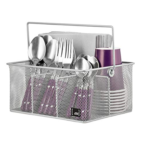(Utensil Holder By Mindspace, Kitchen Condiment Organizer and Flatware Utensil Caddy | The Mesh Collection, Silver)