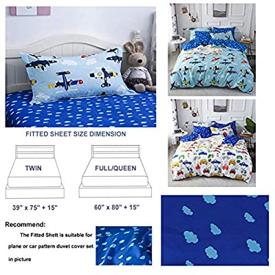 mixinni Luxury Ultra Soft and Comfortable Fitted Sheet Cotton Plane Pattern for Kids Bed Sheet 15