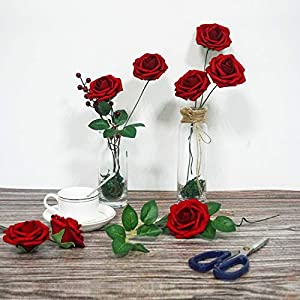 JaosWish 25PCS Real Touch Artificial Roses Fake Flowers with Stem DIY for Wedding Bouquets Baby Shower Party Home Decorations 9