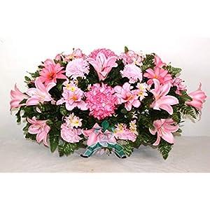 Beautiful XL Spring Pink Lilies Cemetery Saddle Flower Arrangement ... 8