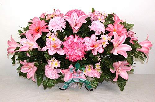 Beautiful XL Spring Pink Lilies Cemetery Saddle Flower Arrangement - Beautiful Pink Lilies