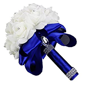 Pavian Bride Bridesmaid Holding Flowers toss Flower Artificial pe Rose Wedding Bouquets with Rhinestone Ribbon 87