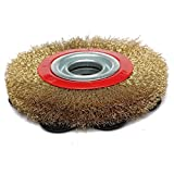 SODIAL 1Pcs 8 Inch 200mm Steel Flat Wire Wheel Brush with 10pcs Adaptor Rings For Bench Grinder Polish