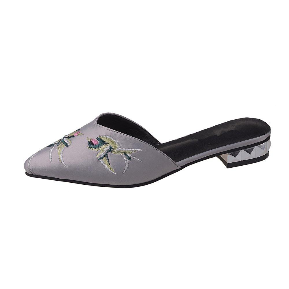 Dolwins Womens Satin Rhinestones Flat Sandals Pointed Toe Jeweled Embellishment Slides Sandals B07DNNGQM4 36/5.5 B(M) US Women|Grey-2