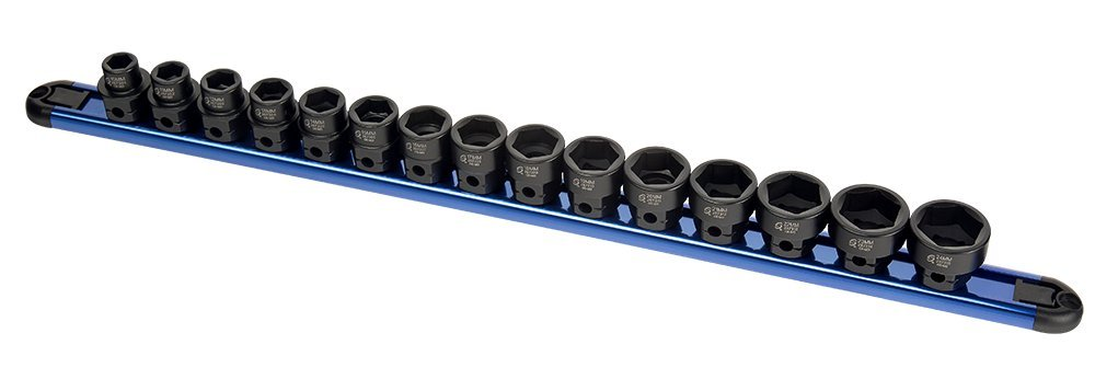 Sunex 2673 15Piece 1/2'' Drive Low Profile Impact Socket Set with Hex Shank Mm,