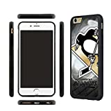 CHICEXP NHL Logo Ultra Thin Pittsburgh Penguins iPhone 6s Plus Case Cover -Rubber Case for iPhone 6 Plus and iPhone 6s Plus with Tempered Glass Screen Protector