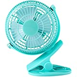 Clip On Fan, YKS 5 Inch Mini USB Table Desktop Stroller Personal Fan( 360 Degree Rotatation, 2200RPM speed, 2 speed choices)-Blue