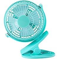 Clip On Fan, YKS 5 Inch Mini USB Table Desktop Stroller Personal Fan( 360 Degree Rotatation, 2200RPM speed, 2 speed choices)-Blue