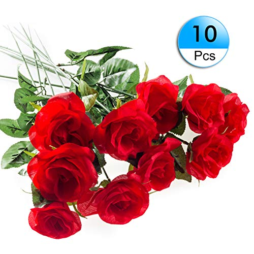 10Pack Artificial Rose Silk Flower Red Roses Bouquets Real Looking Fake Rose Halloween Wedding Party Home Garden Décor -