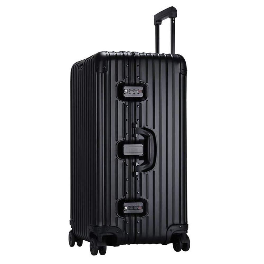 スーツケーススーパーアルミマグネシウム合金アルミ合金トロリーケースキャスターメタルスーツケースアルミスポーツ 35*32*64cm B07SHFS3Y9 Black