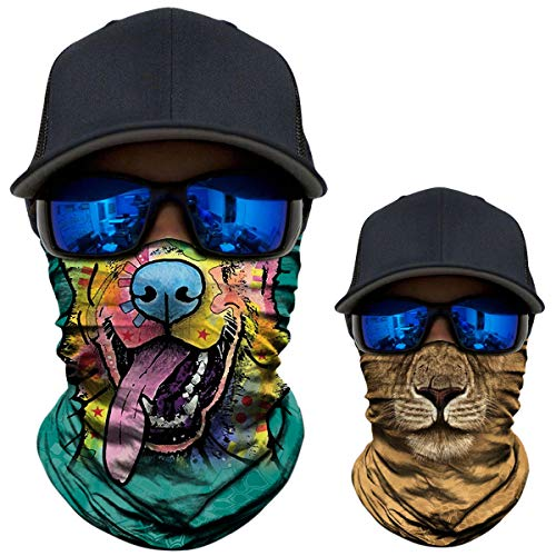 2 Pack - 3D Animal Neck Gaiter Shield Scarf Bandana Face Mask Seamless UV Protection for Motorcycle Cycling Riding Running Fishing Hiking Conoeing Funny Dog and ()