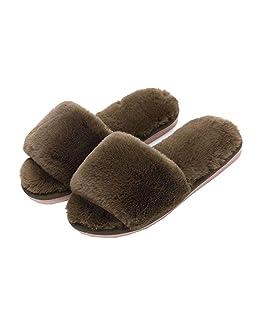 Women's Winter Plush Soft Warm Indoor Flat Slippers Open-Toe Fashion Slide