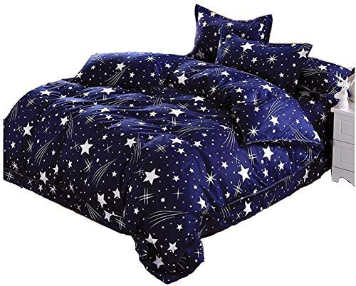 (TWIN04) - Kids Boys Cotton Blend Star Twin Size Complete Bed and Sheet Set Bed Pillowcase Comforters Set (TWIN04)