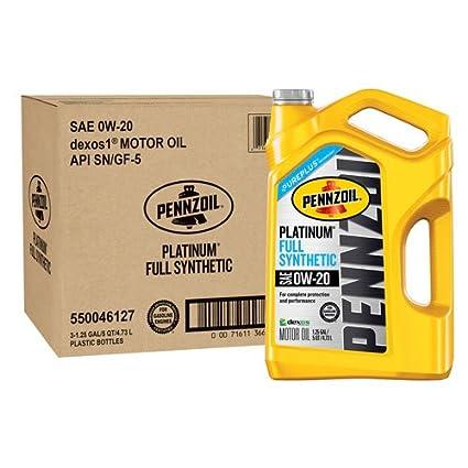 Amazon.com: Pennzoil 550046127-3PK Platinum 5 quart 0W-20 Full Synthetic Motor Oil (SAE, SN/GF-5 Jug 3pk.): Automotive