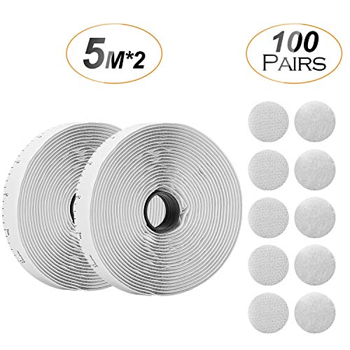 Self Adhesive Kit (Hook & Loop Roll and Dots Tape), Roll Tape with Scale, Back Fastening Strips (0.8in 16.5feet) and 100 Pair Sticky Back Coins Dots Tape (Diameter 20mm) by AGPTEK HLATW, White