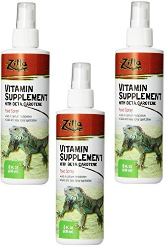 Zilla Vitamin Supplement Food Spray, 8 Ounce (3 Pack) (Calcium Reptile Spray)