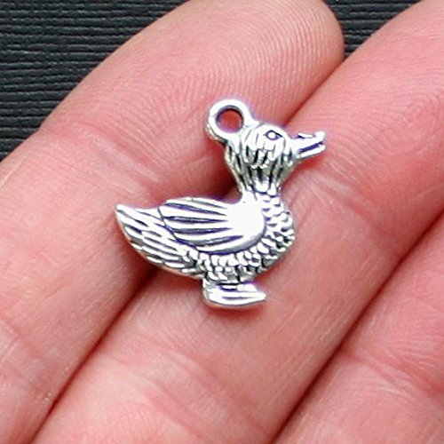 (6 Duck Charms Antique Silver Tone 2 Sided - SC1905 Jewelry Making Supply Pendant Bracelet DIY Crafting by Wholesale Charms)