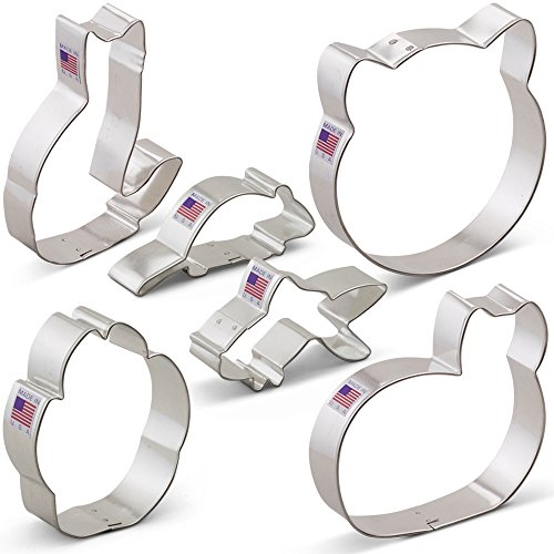 Kitty Cat Cookie Cutter Set - 6 piece - Cat Face, Sitting Cat, Curled Cat, Mouse, Goldfish, Paw Print - Ann Clark - Tin Plated Steel