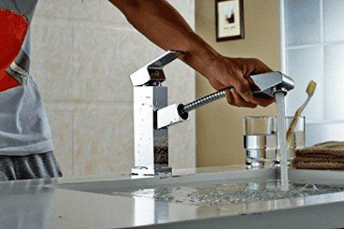 MEIBATH Waschtischarmatur Badezimmer Waschbecken Wasserhahn Küchenarmaturen Messing Pull-Out eine Bohrung für Warmes und Kaltes Wasser Küchen Wasserhahn Badarmatur