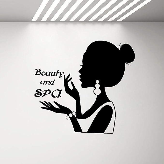 Belleza y Logotipo Letrero Adhesivo de Pared Mujer Silueta Vinilo ...