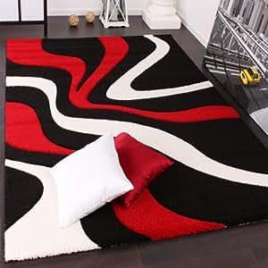 PHC Alfombra De Diseño Perfilado - Estampado De Ondas - Rojo Negro Blanco, tamaño:160x230 cm