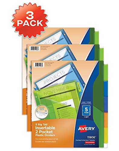 Avery 5-Tab Plastic Binder Dividers with Pockets, Insertable Multicolor Big Tabs, 3 Sets (11906)
