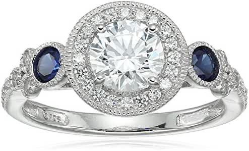 Platinum-Plated Sterling Silver Swarovski Zirconia Antique Round-Cut  and Created Sapphire Ring
