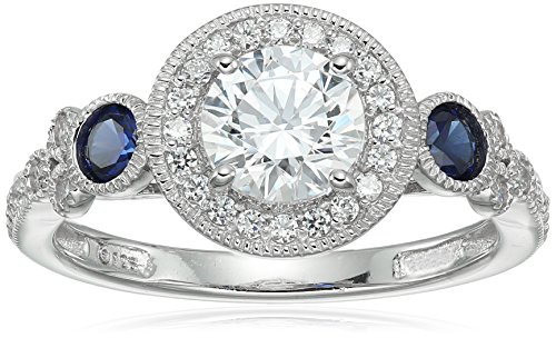 Platinum-Plated Sterling Silver Swarovski Zirconia Antique Round-Cut  and Created Sapphire Ring size 9 (Swarovski Crystal Ring)