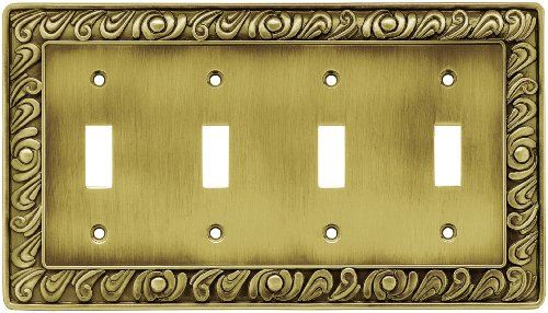 Decorative Cover Switchplate - Franklin Brass 64043 Paisley Quad Toggle Switch Wall Plate/Switch Plate/Cover, Tumbled Antique Brass