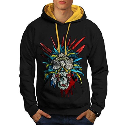 [Skull Indian Warrior Costume Men NEW L Contrast Hoodie | Wellcoda] (Mayan Warrior Costumes)