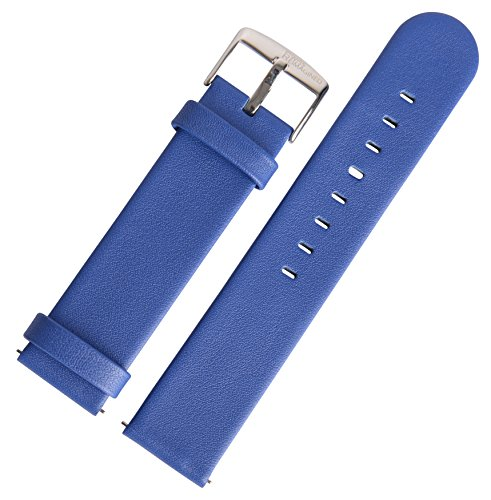 SWISS REIMAGINED 5 Fashion Colors Quick Release Quality Genuine Nappa Leather Replacement Watch Band Strap - Blue