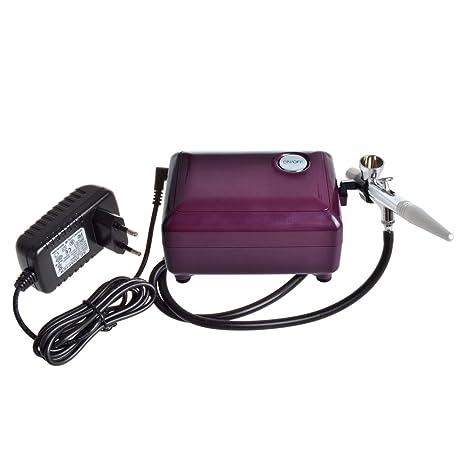 eteng máquina de maquillaje aerógrafo aerógrafo compresor con 0,4 mm pistola de aerógrafo morado