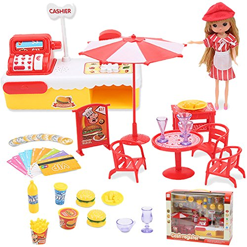 tend Play Set for Kids Cashier Toy Cash Register Playset Kids Supermarket Money and Credit Cards Checkout Play -Fast Food Truck Set with Light & Sound ()