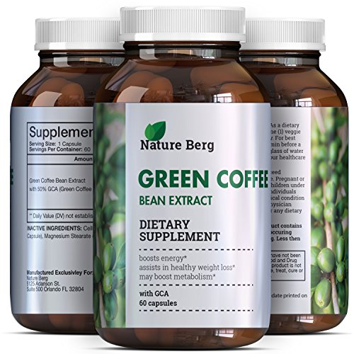 Real Raw Green Coffee Bean Extract – Extra Strength Pure Premium Antioxidant Beans – 800 mg Max Fat Burner Supplement + Super Scour Pills for Weight Loss Benefits + Reviews – Nature Berg