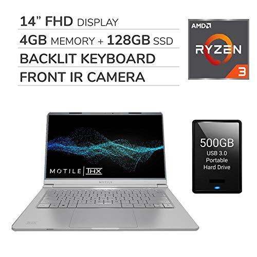 MOTILE 2020 14″ FHD Performance Laptop Computer, 2-Core AMD Ryzen 3-3200U 2.6GHz, 4GB RAM, 128GB SSD, No DVD, Wi-Fi, Bluetooth,720p IR Webcam, HDMI, Windows 10, Black, 500GB USB 3.0 External HDD