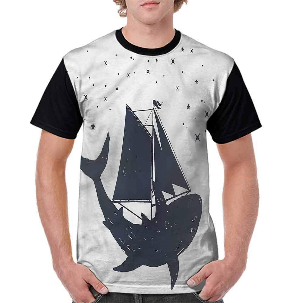 BlountDecor Loose T Shirt,Constellation Stars Boat Fashion Personality Customization